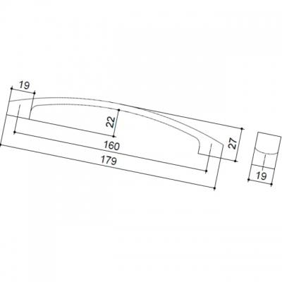 Ручка-скоба 160мм, отделка хром матовый 155.160.SC
