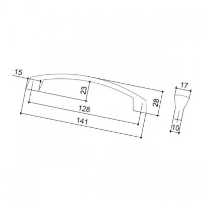 Ручка-скоба 128мм, отделка хром матовый 156.128.SC