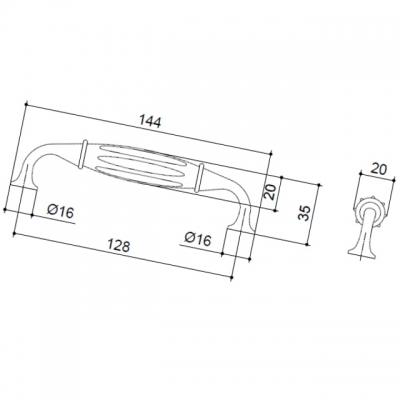 MA.4700.48 Ручка-скоба 128мм, отделка бронза темная + керамика