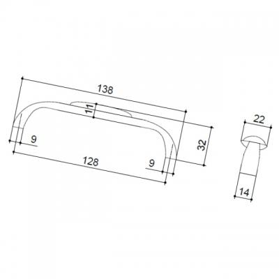 Ручка-скоба 128мм, отделка бронза + керамика C4154-128.ABD/ALF.28