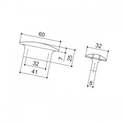 Ручка-скоба 32мм, отделка бронза шлифованная 595/32