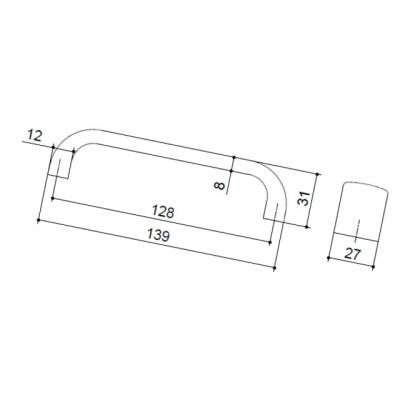 Ручка-скоба 128мм, отделка хром матовый 0626-128.DC.28