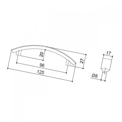 Ручка-скоба 96мм, отделка никель матовый 0639-096.DN.28