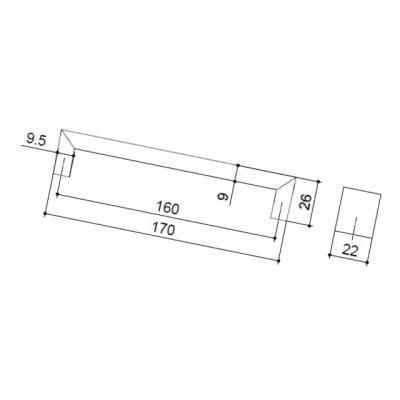 Ручка-скоба 160мм, отделка хром матовый A077-160.DC.28