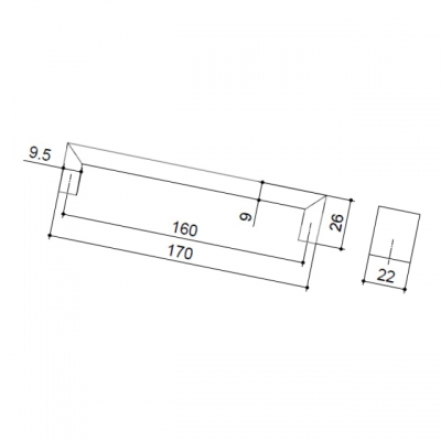 Ручка-скоба 160мм, отделка хром глянец A077-160.PC.28