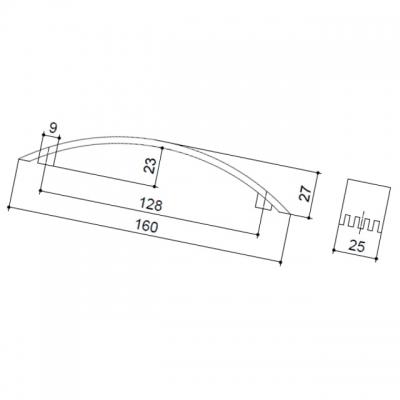 Ручка-скоба 128мм, отделка хром матовый A079-128.DC.28