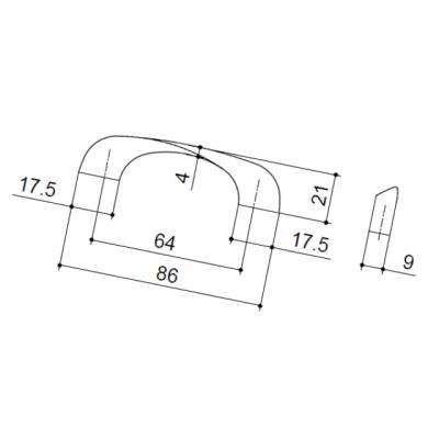 Ручка-скоба 64мм, отделка хром глянец A091-064.PC.28