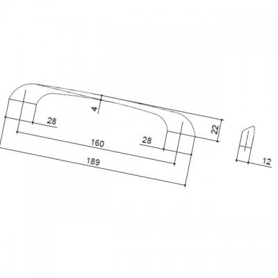 Ручка-скоба 160мм, отделка хром глянец A091-160.PC.28