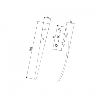 Ручка-скоба 32мм, отделка хром матовый A184-200.DC.28