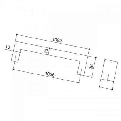 Ручка-скоба 1056мм, отделка сталь нержавеющая B843-1056.NA.28