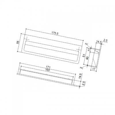 Ручка врезная 160мм, отделка хром матовый C1620.DC.28