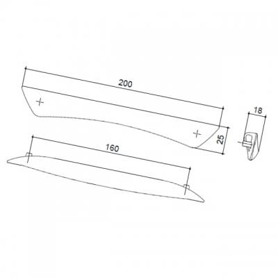 Ручка-скоба 160мм, отделка хром матовый (с винтами M4x12) C2749-160.DC.28