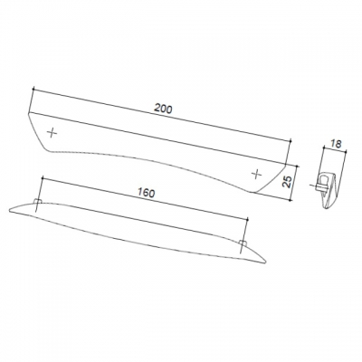 Ручка-скоба 160мм, отделка хром глянец (без винтов) C2749-160.PC.25