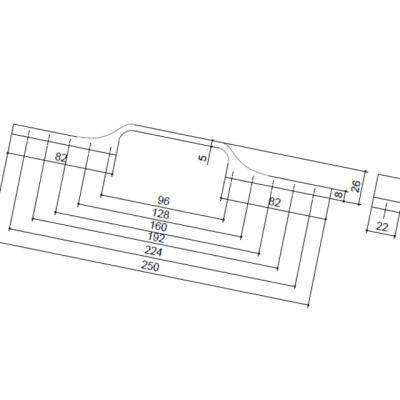 Ручка-скоба 224-96мм, отделка лед 8.1094.B000.0212