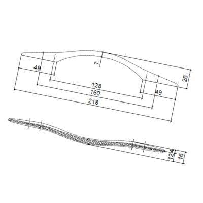Ручка-скоба 160-128мм, отделка серебро 8.1122.160128.1801