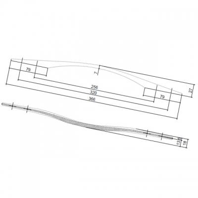 Ручка-скоба 320-256мм, отделка серебро 8.1122.320256.1801