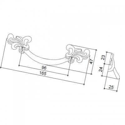 Ручка-скоба 96мм, отделка черненое железо с белой патиной 9.1250.0096.0014
