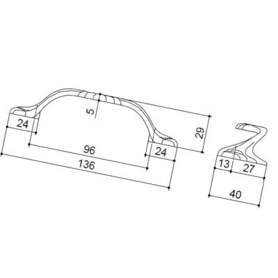Ручка-скоба 96мм, отделка черненое железо с белой патиной 9.1328.0096.0014