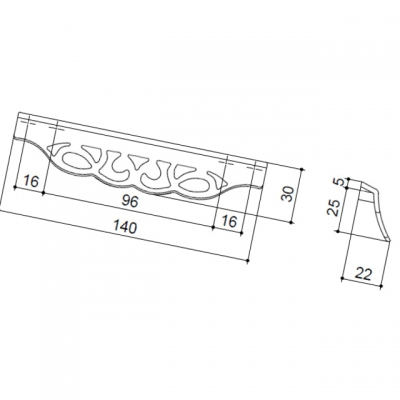 Ручка-скоба 128-096мм, серебро античное 9.1354.128096.17