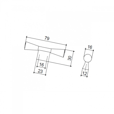 Ручка-кнопка 16мм, отделка черная бронза 9.1355.0016.27
