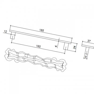 Ручка-скоба 160мм, отделка бронза античная французская 9.1356.0160.25