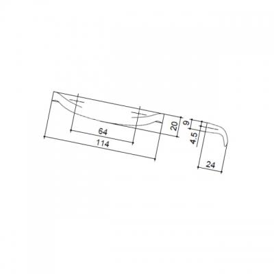 Ручка-скоба 64мм, отделка хром глянец 308WJ1