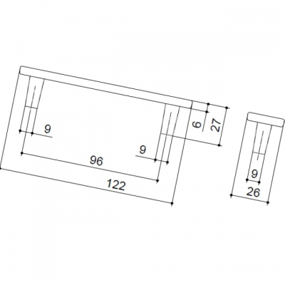 Ручка-скоба 96мм, отделка никель глянец + белый (крокодил) 15064E0965B.32