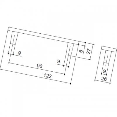 Ручка-скоба 96мм, отделка никель глянец + тёмно-коричневый (кайман) 15064E0962A.32