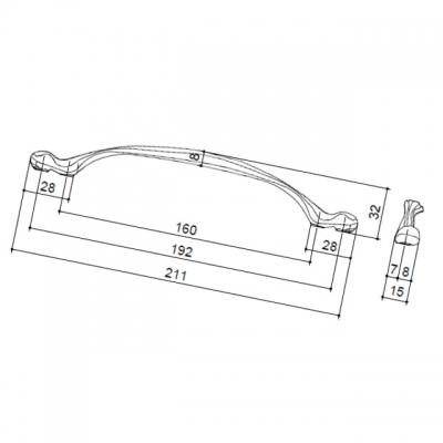 Ручка-скоба 192-160мм, отделка белая матовая 15179Z19220.F5