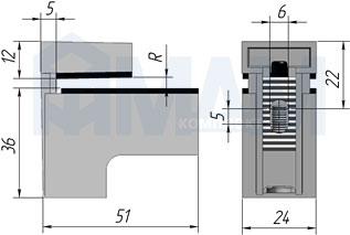 SU15AZVC КВАДРО МИНИ Менсолодержатель 24х51 мм для деревянных и стеклянных полок 4 - 20 мм, хром матовый