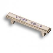 15.138.96.PO01.16 Ручка скоба керамика с металлом, синий цветочный орнамент старое серебро 96 мм
