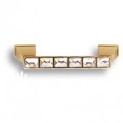15.139.96.SWA.19 Ручка скоба с кристаллами Swarovski, глянцевое золото 96 мм