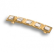 15.183.128.SWA.19 Ручка скоба с кристаллами Swarovski, глянцевое золото 128мм