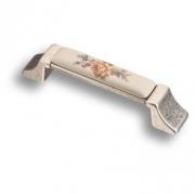 15.275.96.PO03.16 Ручка скоба керамика с металлом, цветочный орнамент старое серебро 96 мм