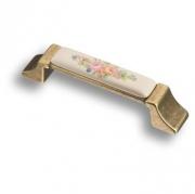 15.275.96.PO11.12 Ручка скоба керамика с металлом, цветочный орнамент античная бронза 96 мм