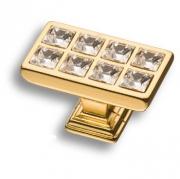 15.349.00.SWA.19 Ручка кнопка с кристаллами Swarovski, глянцевое золото 24K