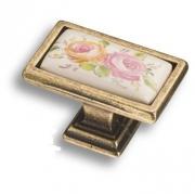 15.361.00.PO11.12 Ручка кнопка керамика с металлом, цветочный орнамент античная бронза
