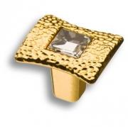 15.362.00.SWA.19 Ручка кнопка с кристаллом Swarovski, глянцевое золото 24K