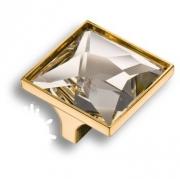 15.390.32.SWA.19 Ручка кнопка с кристаллом Swarovski, глянцевое золото 32 мм