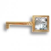 15.511.42.SWA.19 Ключ мебельный с кристаллом Swarovski, глянцевое золото 24K