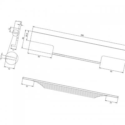 Ручка врезная 496мм, отделка сталь шлифованная 408020496-66.1