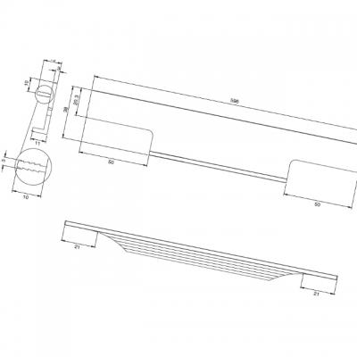 Ручка врезная 596мм, отделка сталь шлифованная 408020596-66.1
