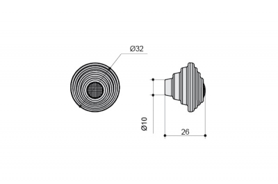 24273Z03200.F5 Ручка-кнопка, отделка белая матовая + горный хрусталь