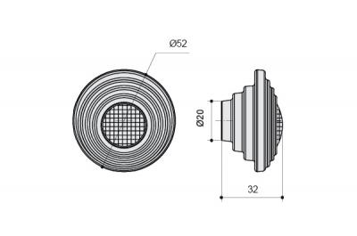 24273Z05200.F5 Ручка-кнопка, отделка белая матовая + горный хрусталь