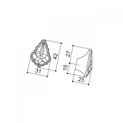 Ручка-кнопка, отделка серебро 24274Z04200.78