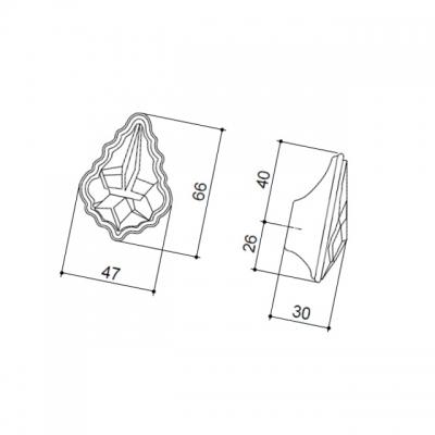 Ручка-кнопка, отделка серебро 24274Z06600.78