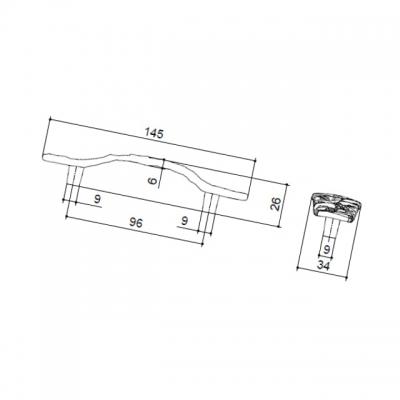 Ручка-скоба 96мм, отделка серебро винтаж WMN.707X.096.M00T4