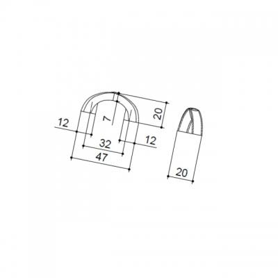 Ручка-скоба 32мм, отделка старое серебро с блеском WMN.611X.032.M00E8