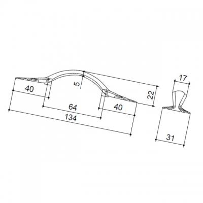 Ручка-скоба 64мм, отделка старое серебро с блеском WMN.627X.064.M00E8
