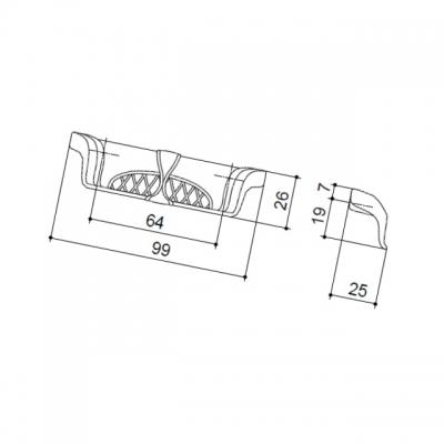 """Ручка-скоба 64мм, отделка серебро """"Венеция"""" WMN.645X.K64.M00M5"""